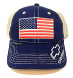 Chevrolet USA American Flag Embroidered Adjustable Curved Bill Hat