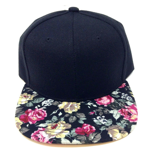 2 Tone Black Crown Flower Bill Snapback Hat Cap Floral Print #1