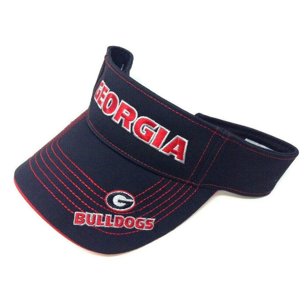 University Of Georgia Bulldogs Text Logo Black Sun Visor Hat