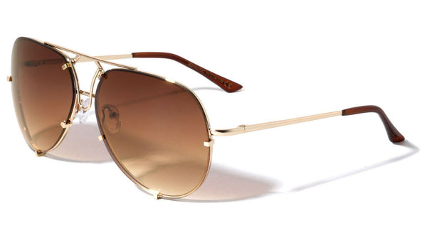 Retro Turbo Floating Lenses Luxury Aviator Sunglasses w/ Gradient Color Lenses