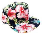 Black Hawaiian Print Hibiscus Floral All Over Print Snapback