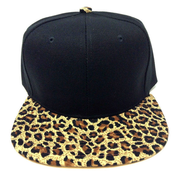 2 Tone Black Crown & Cheetah / Leopard Print Bill Snapback