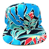 Blue Coral Birds of Paradise Hawaiian All Over Floral Print Snapback