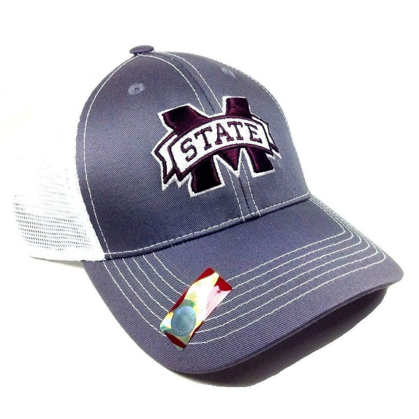 Mississippi State University Bulldogs Grey Ghost Adjustable Mesh Trucker Curved Bill Snapback Hat