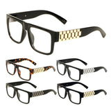 Watch Band Link Chain Square Luxury Sunglasses w/ Clear Lenses