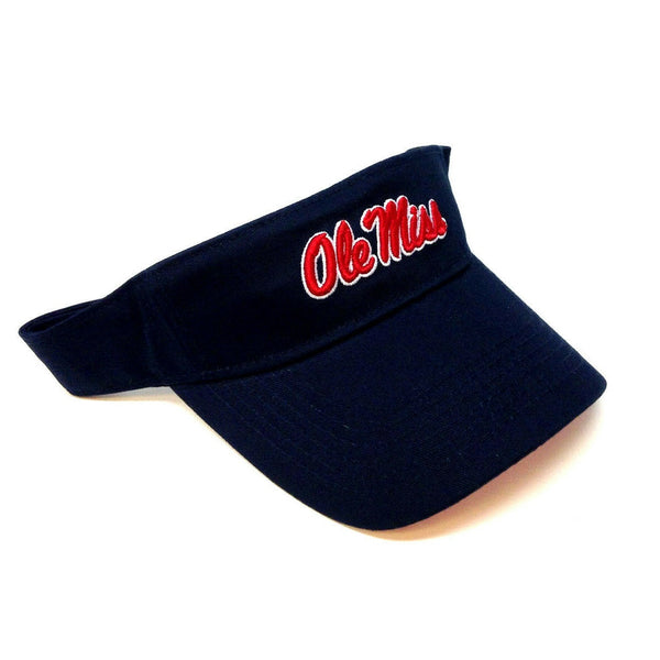 University of Mississippi Ole Miss Rebels Script Text Logo Navy Blue Sun Visor Hat