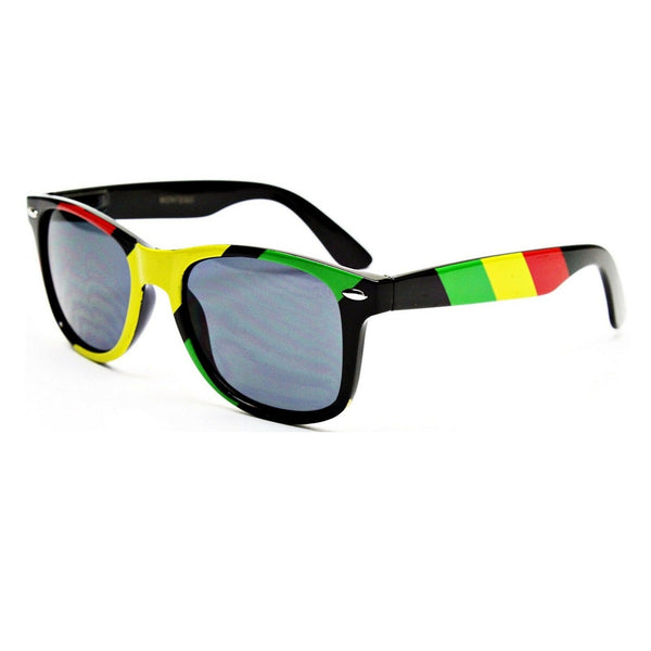 Rasta Stripes Square Sunglasses Jamaican Colors