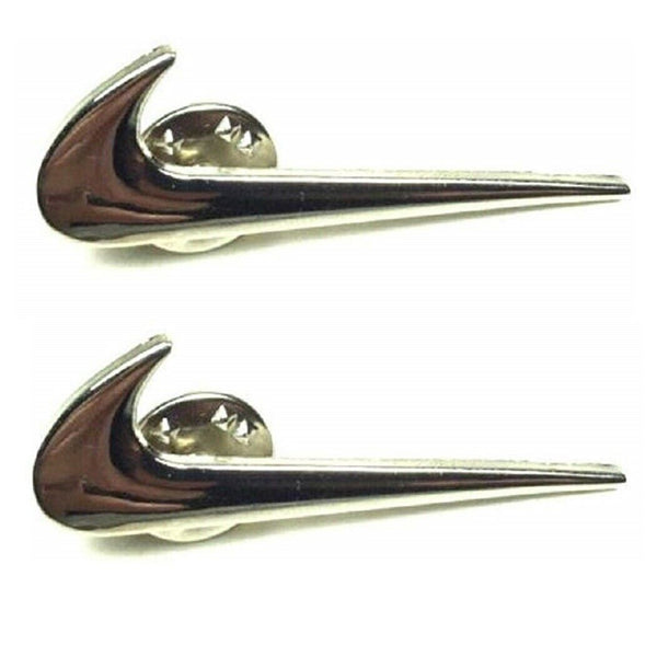 Silver Metallic Nike Check Mark Logo Swoosh 2 Piece Lapel Pin Set
