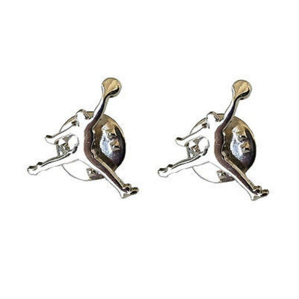 Silver Metallic Air Jordan Jumpman Logo 2 Piece Lapel Pin Set