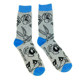 Looney Tunes Cartoon Character Faces All Over Print Knit Crew Socks