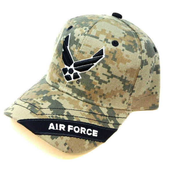 United States Air Force 3D Wings Logo Stripe Digital Camo Adjustable Hat