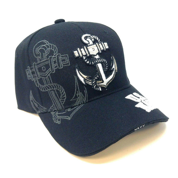 United States Navy Black 3D Anchor Logo Adjustable Hat