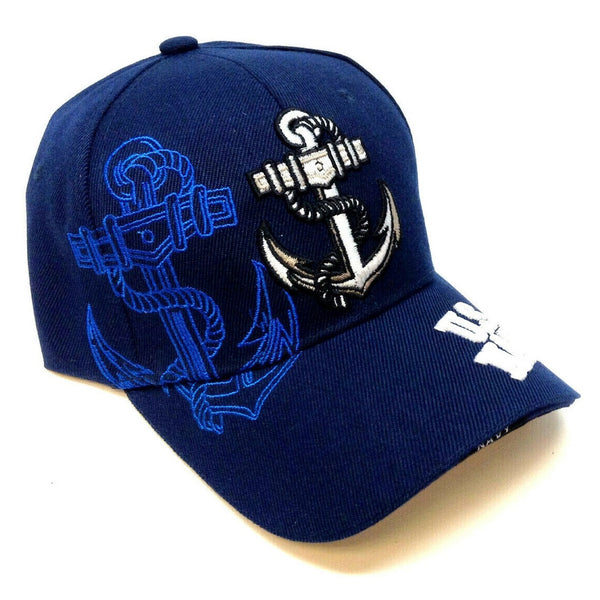 US United States Navy 3D Anchor Logo Blue Adjustable Hat