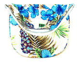 White & Blue Hibiscus Hawaiian Floral Print Snapback