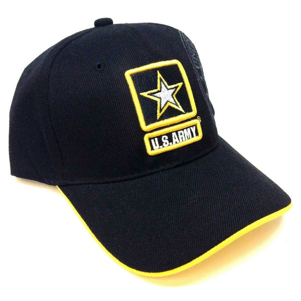 United States Army 3D Star Seal Logo Black & Yellow Adjustable Hat