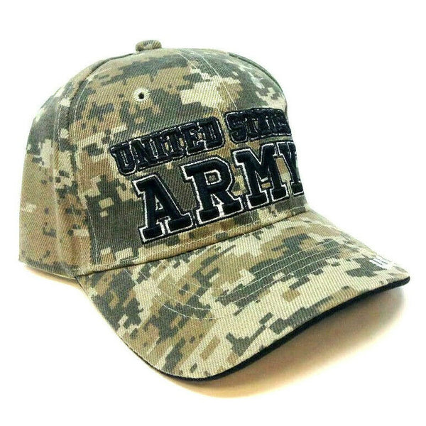 United States Army Digital Camo 3D Text Logo Adjustable Hat