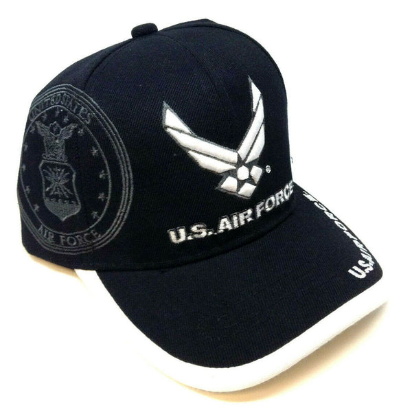 United States Air Force 3D Wings Logo Black Adjustable Hat