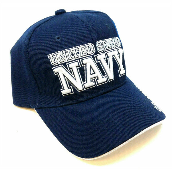 United States Navy 3D Text Blue Adjustable Hat