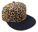 2 Tone Cheetah / Leopard Print Crown & Black Bill Snapback
