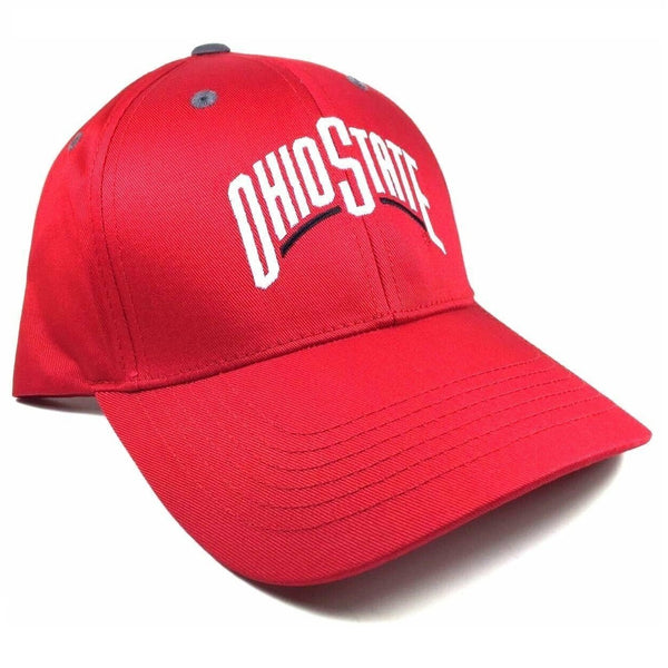 Red Ohio State University Buckeyes Adjustable Curved Bill Hat.