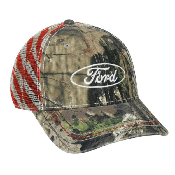 Ford Mossy Oak Camo USA American Flag Adjustable Mesh Trucker Hat