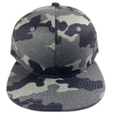 Woodland Camo Grey & Black All Over Print Camouflage Flat Bill Snapback