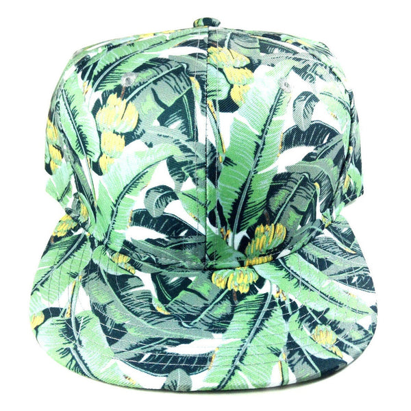 Banana Palms Green All Over Floral Print Snapback