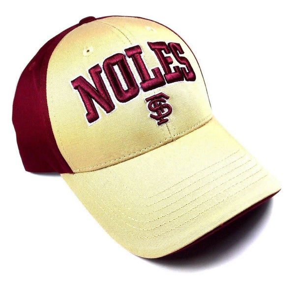FSU Florida State University Seminoles Sonic Text Logo Curved Bill Adjustable Hat