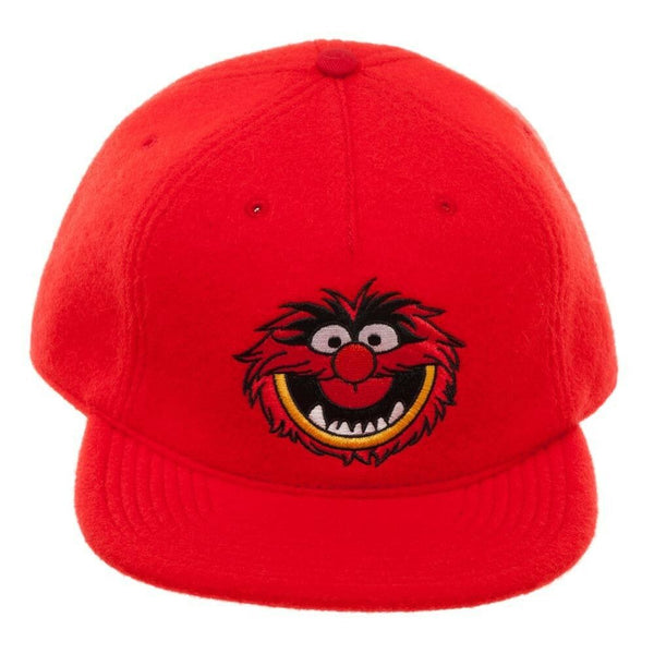 Disney The Muppets Animal Face Red Faux Mohair Flat Bill Snapback