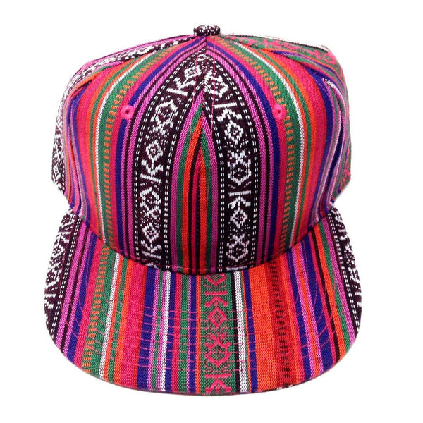 Pink & Multicolor Striped Aztec / Navajo All Over Print Snapback