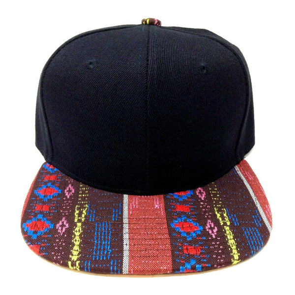 Black Crown Brown & Red Aztec / Navajo All Over Print Bill Snapback
