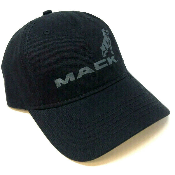 Mack Trucks Black Bulldog & Text Logo Slouch Curved Bill Adjustable Hat