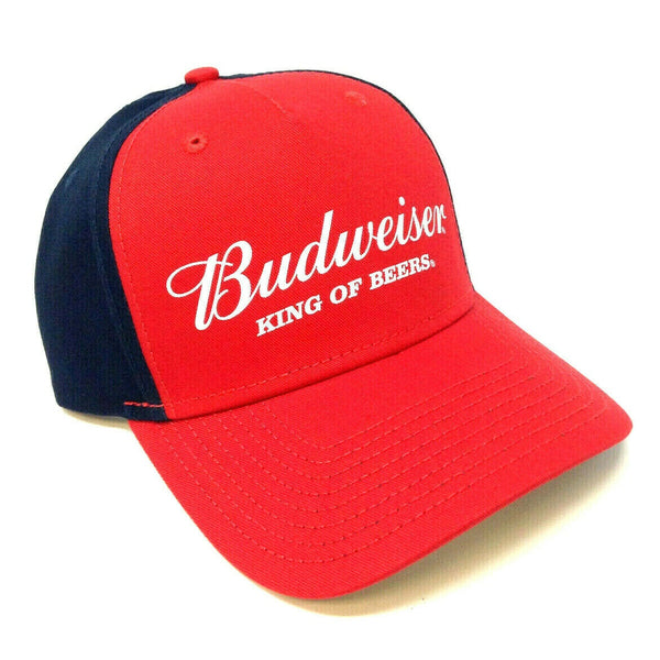 Budweiser Red & Navy Blue King of Beers Script / Text Logo Curved Bill Adjustable Hat
