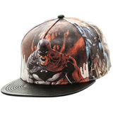 Batman Logo Sublimated Faux Leather Flat Bill Snapback Hat