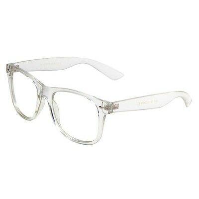 Crystal Transparent Classic Square Sunglasses w/ Clear Lenses