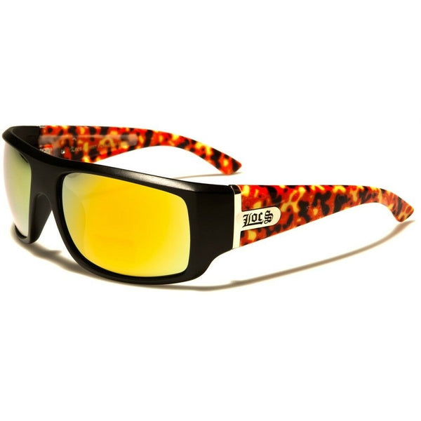 Locs Square Fire Flames Sport Wrap Around Sunglasses w/ Iridium Mirror Lenses