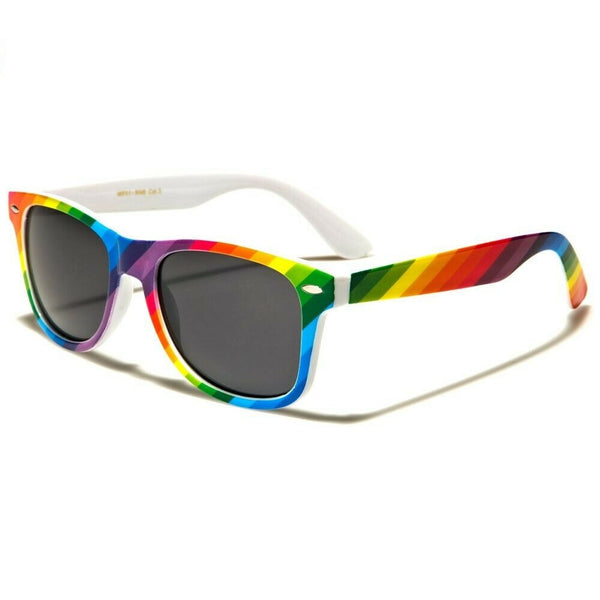 White Rainbow Striped Print Pride Classic Square Sunglasses