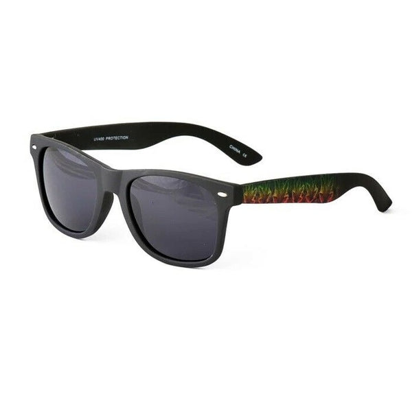 Black Weed Leaf Marijuana Jamaican Rasta Print Square Sunglasses - Black Lenses