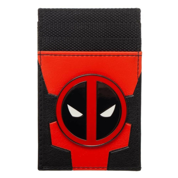 Marvel Comics Deadpool Metal Badge Face Logo Front Pocket Card Holder Mens Wallet