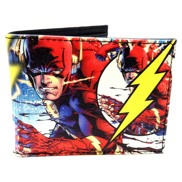 DC Comics The Flash Sublimated Graphic Print PU Faux Leather Men's Bifold Wallet