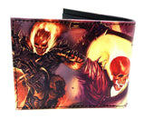 Marvel Comics Ghost Rider Sublimated Graphic Print PU Faux Leather Men's Bifold Wallet