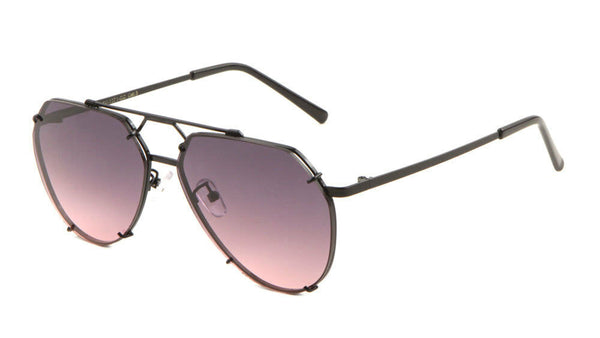 Floating Flat Lens Aviator Sunglasses w/Brow Bar