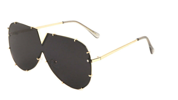 Rimless Oversized One Piece Shield Luxury Aviator Sunglasses