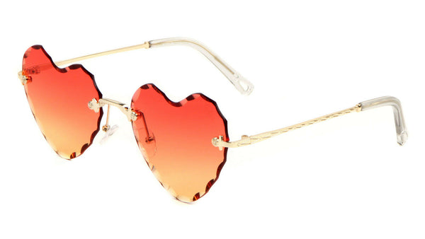 Glo Women's Heart Rimless Beveled Laser Cut Lenses Luxury Sunglasses