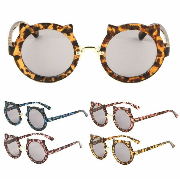 Kitty Cat Ear Kids Youth Round Circle Lens Sunglasses