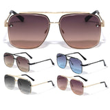 Luxury Beveled Square Lenses Metal Aviator Sunglasses