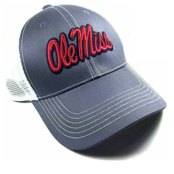 Ole Miss Rebels Grey Ghost Adjustable Mesh Trucker Curved Bill Snapback Hat
