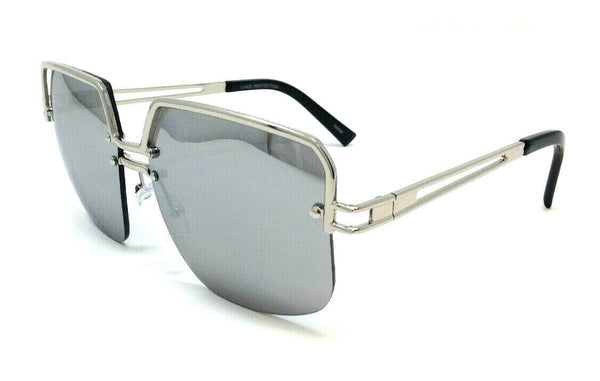 Oversized Semi Rimless Luxury Square Aviator Sunglasses