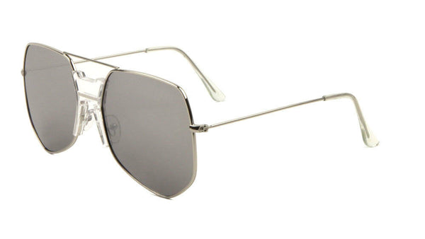 Napoli Oversized Square Flat Top Aviator Sunglasses w/Keyhole Bridge