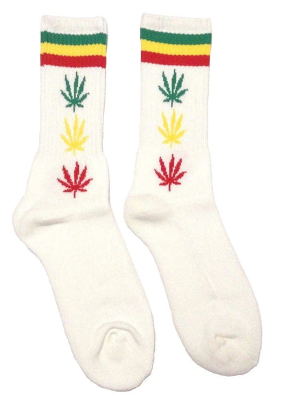 Marijuana Weed Leaf Rasta Striped Crew Socks
